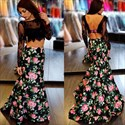 Show details for Two-Piece Long Sleeve Lace Bodice Backless Mermaid Floral Prom Dress