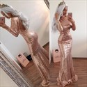 Show details for Champagne Long Sleeve Full Sequin Mermaid Prom Gown With Open Back