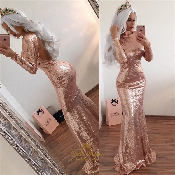 Champagne Long Sleeve Full Sequin Mermaid Prom Gown With Open Back