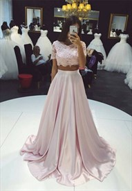 Light Pink Two-Piece Short Sleeve Lace Bodice Floor-Length Prom Dress