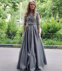 Grey Illusion Half Sleeve Lace Top Two Piece A-Line Long Evening Dress