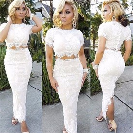 Short Sleeve Two-Piece Ankle Length Lace Sheath Prom Dress With Slit