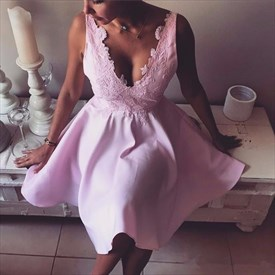 Simple Pink Sleeveless V-Neck A-Line Short Homecoming Dress With Lace