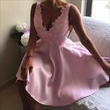 Show details for Simple Pink Sleeveless V-Neck A-Line Short Homecoming Dress With Lace