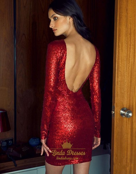 Burgundy Long Sleeve Backless Sequin Short Bodycon Cocktail Dress