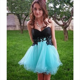 Short Strapless Sweetheart Lace Embellished Tulle Homecoming Dress