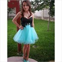 Show details for Short Strapless Sweetheart Lace Embellished Tulle Homecoming Dress
