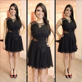 Black Illusion Neckline Sleeveless A-Line Short Tulle Homecoming Dress