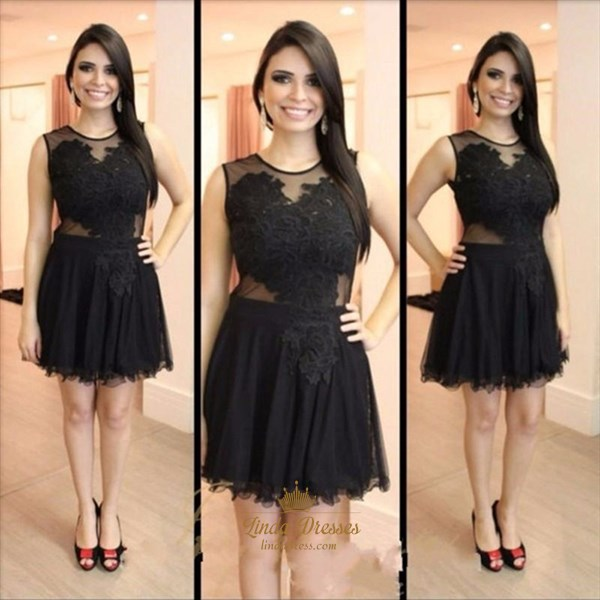 Black Illusion Neckline Sleeveless A-Line Short Tulle Homecoming Dress