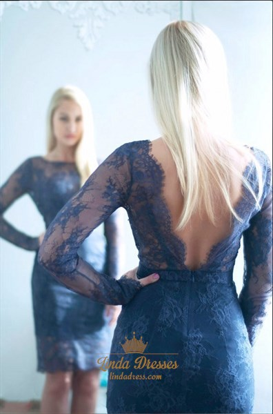 Long Sleeve Elegant Knee Length Sheath Lace Cocktail With Open Back