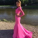 Show details for Two-Piece Illusion Lace Bodice Mermaid Formal Dress With Long Sleeves