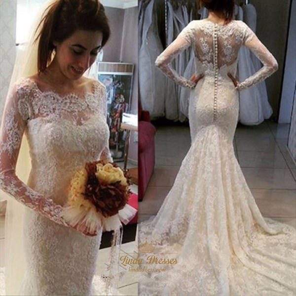 Elegant Illusion Long Sleeve Mermaid Lace Wedding Dress With Train