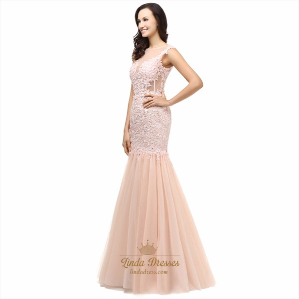 Peach Cap Sleeve Illusion Drop Waist Lace Tulle Mermaid Prom Dress