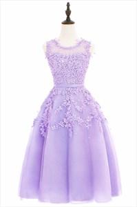 A-Line Short Sleeveless Lace Applique A-Line Homecoming Dress