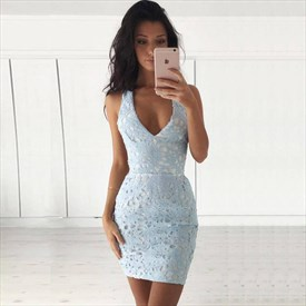 Lovely Light Blue V-Neck Short Sheath Sleeveless Lace Cocktail Dress