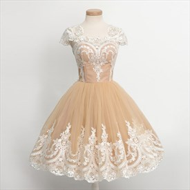 Knee Length A-Line Cap Sleeve Lace Applique Tulle Homecoming Dress