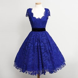 Royal Blue Square Neck Cap Sleeve A-Line Short Lace Homecoming Dress