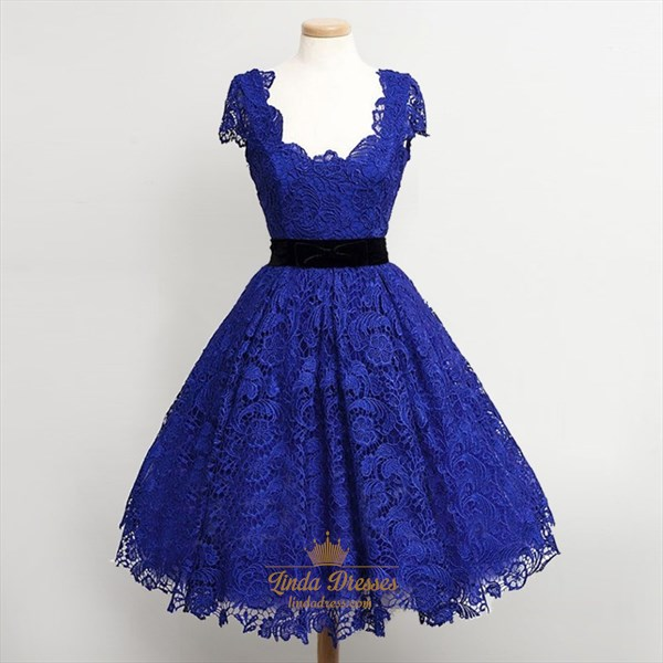 Show details for Royal Blue Square Neck Cap Sleeve A-Line Short Lace Homecoming Dress