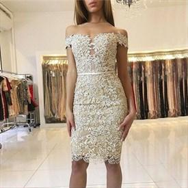 Off-The-Shoulder Elegant Knee Length Bodycon Lace Cocktail Dress
