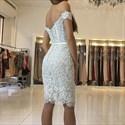 Show details for Off-The-Shoulder Elegant Knee Length Bodycon Lace Cocktail Dress