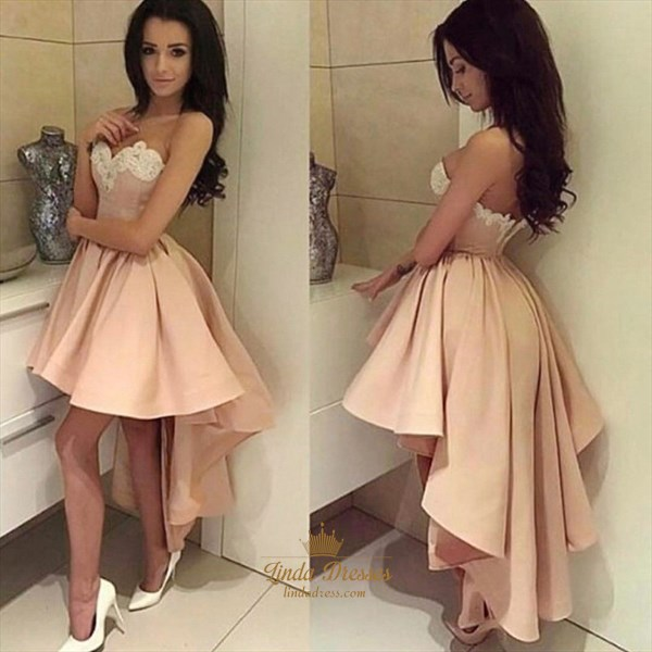 A-Line High-Low Strapless Sweetheart Lace Embellished Homecoming Dress