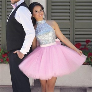 Sleeveless Sequin Top Tulle Skirt Homecoming Dress With Bow In Back