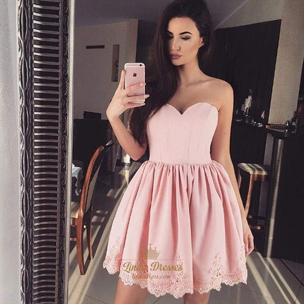 Lovely Short Peach Strapless Sweetheart Homecoming Dress With Lace