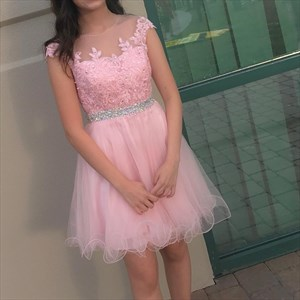 Cap Sleeve Beaded Waist Short Homecoming Dress With Illusion Neckline