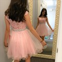 Show details for Cap Sleeve Beaded Waist Short Homecoming Dress With Illusion Neckline