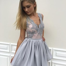 Grey Sleeveless A-Line Knee Length Lace Embellished Homecoming Dress