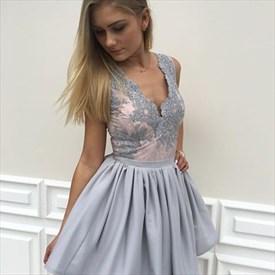 Grey Sleeveless A-Line Knee Length Lace Embellished Homecoming Dress