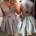 Show details for Grey Sleeveless A-Line Knee Length Lace Embellished Homecoming Dress