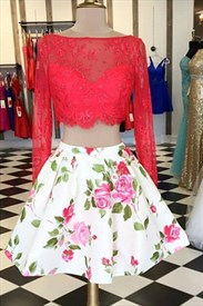 Two-Piece Long Sleeve Lace Bodice Short A-Line Floral Cocktail Dress