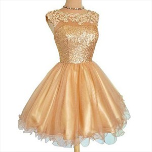 Champagne Lace Top Sequin Bodice A-Line Knee Length Cocktail Dress