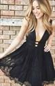Lovely Sleeveless Deep V-Neck A-Line Short Lace Little Black Dress