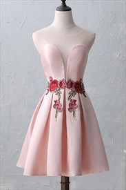 Gorgeous Pink Sheer Neckline Cap Sleeve Short A-Line Homecoming Dress