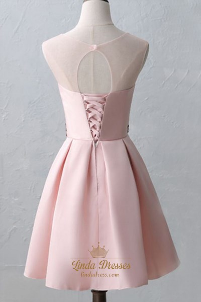 Gorgeous Pink Sheer Neckline Cap Sleeve Short A-Line Homecoming Dress