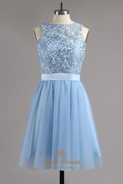 Sky Blue Sleeveless Lace Bodice Short Homecoming Dress With Open Back
