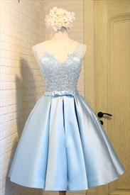 A-Line Light Blue Illusion Sleeveless Lace Bodice Homecoming Dress