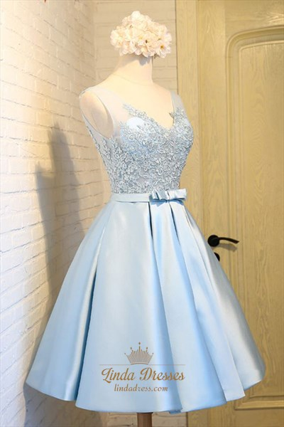 A-Line Light Blue Illusion Sleeveless Lace Bodice Homecoming Dress