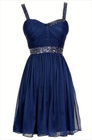 Navy Blue Sleeveless Short A-Line Beaded Chiffon Homecoming Dress