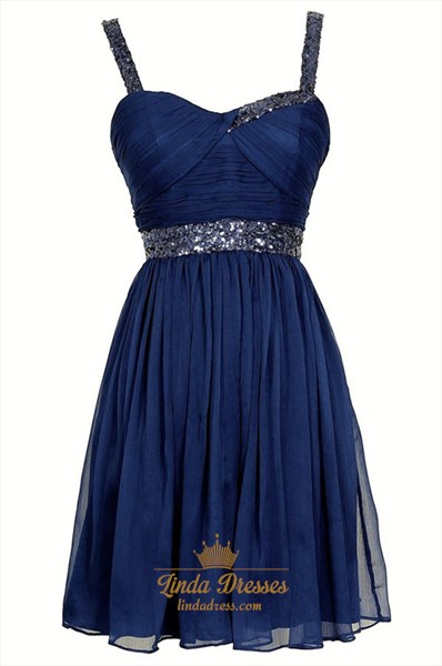 Show details for Navy Blue Sleeveless Short A-Line Beaded Chiffon Homecoming Dress