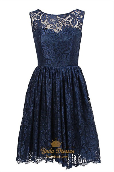 Navy Blue Illusion Sleeveless Knee Length A-Line Lace Homecoming Dress