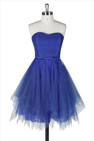 Short Royal Blue Strapless Lace Homecoming Dress With Tulle Overlay