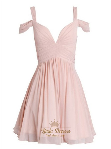 Blush Pink Off Shoulder Ruched Chiffon Short A-Line Homecoming Dress