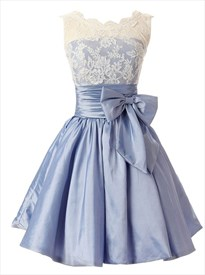 Lovely Sleeveless Lace Bodice Knee Length Homecoming Dress With Bow