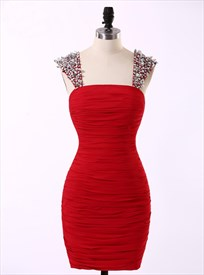 Red Beaded Cap Sleeve Ruched Chiffon Short Bodycon Cocktail Dress