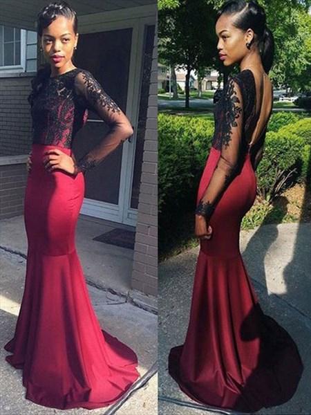Black And Red Illusion Long Sleeve Floor-Length Mermaid Prom Dress