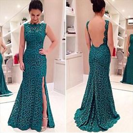 Elegant Sleeveless Backless Floor-Length Lace Mermaid Formal Dress