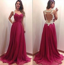 Fuchsia Sleeveless A-Line Chiffon Long Evening Dress With Appliques